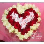 Pušķis-sirds no rozēm un konfektēm - SBK045